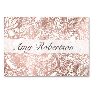Name place Faux rose gold boho floral wedding Card