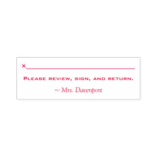 "Name + ""Please review, sign and return."" Self-inking Stamp"