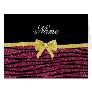 Name plum purple glitter zebra stripes gold bow greeting cards