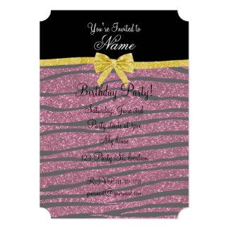 """Name plum purple glitter zebra stripes gold bow 5"""" x 7"""" invitation card"""