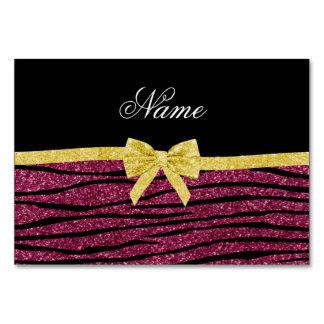 Name plum purple glitter zebra stripes gold bow table cards