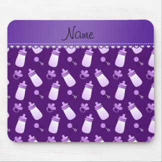 Name purple baby bottle rattle pacifier mouse pad