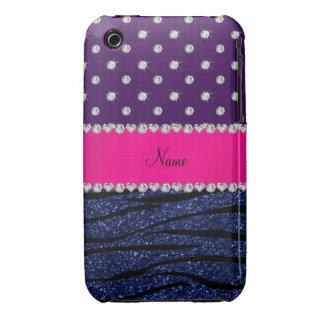 Name purple diamonds zebra navy blue glitter iPhone 3 case