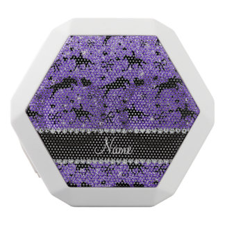 Name purple glitter equestrian hearts bows white boombot rex bluetooth speaker