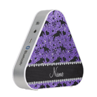 Name purple glitter equestrian hearts bows speaker