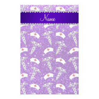 Name purple glitter nurse hats silver caduceus stationery