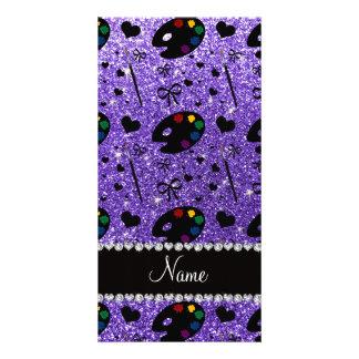 name purple glitter painter palette brushes photo cards