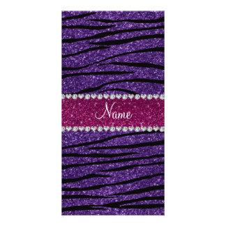 Name purple glitter zebra stripes pink stripe custom photo card