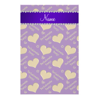 Name purple gold hearts bachelorette party stationery paper