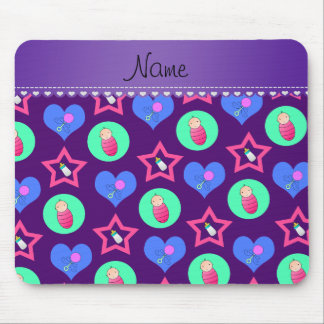 Name purple hearts dots stars baby rattle bottle mouse pad