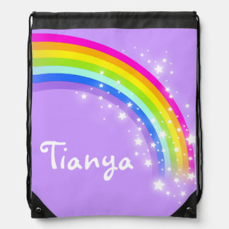 Name purple rainbow stars drawstring bag