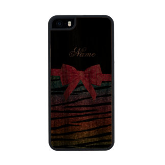 Name rainbow glitter zebra stripes pink bow carved® walnut iPhone 5 slim case
