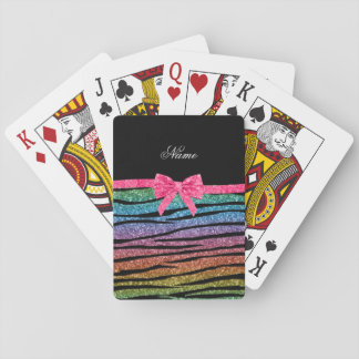 Name rainbow glitter zebra stripes pink bow playing cards