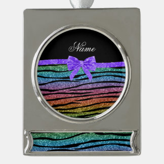 Name rainbow glitter zebra stripes purple bow silver plated banner ornament