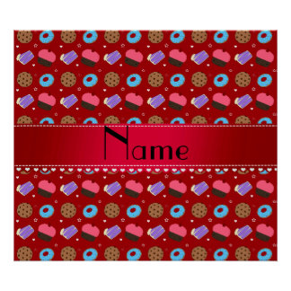 Name red cupcake donuts cake cookies poster