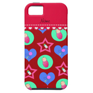 Name red hearts dots stars baby rattle bottle iPhone 5 cover