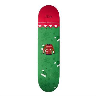 Name red ugly christmas sweater green santa hats custom skate board