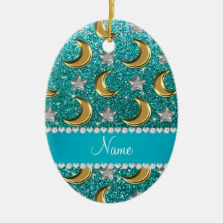 Name robin egg blue glitter gold moons silver star christmas ornament