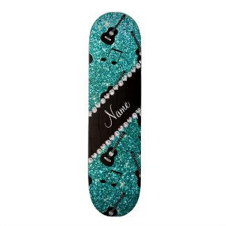 Name robin egg blue glitter guitars music notes 21.6 cm skateboard deck