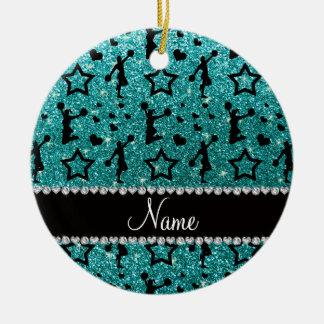 Name robin egg blue glitter stars cheerleading round ceramic decoration