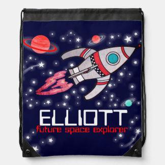 Name rocket space explorer kids drawstring bag