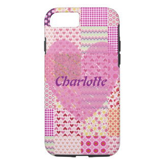 Name Romantic Country Style Pink Patchwork Heart iPhone 8/7 Case