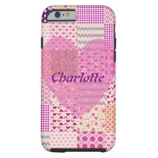Name Romantic Country Style Pink Patchwork Heart Tough iPhone 6 Case