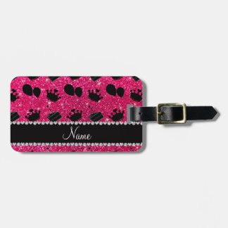 Name rose pink glitter crowns balloons cake luggage tag