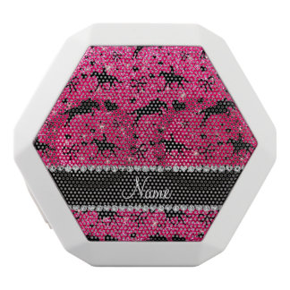 Name rose pink glitter equestrian hearts bows white boombot rex bluetooth speaker