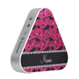Name rose pink glitter equestrian hearts bows speaker