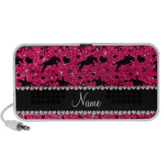 Name rose pink glitter equestrian hearts bows speakers