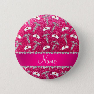 Name rose pink glitter nurse hats silver caduceus 6 cm round badge