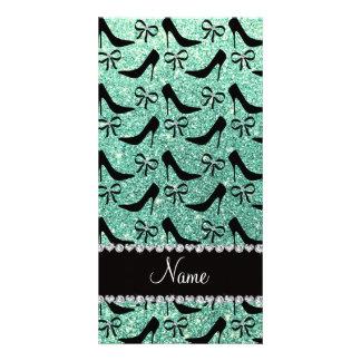 Name seafoam green glitter black high heels bow personalised photo card