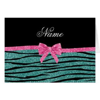 Name seafoam green glitter zebra stripes pink bow cards