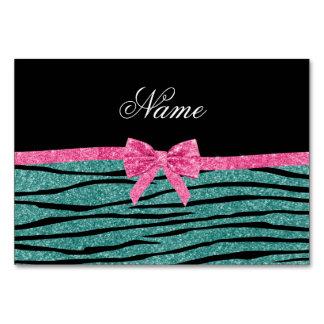 Name seafoam green glitter zebra stripes pink bow table cards