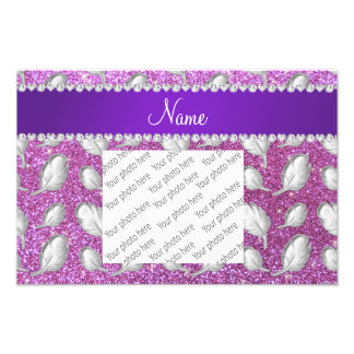 Name silver feathers pastel purple glitter photograph