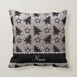 Name silver glitter christmas trees stars cushion