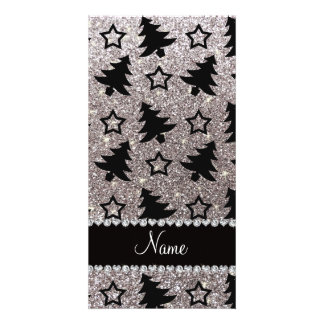 Name silver glitter christmas trees stars customized photo card