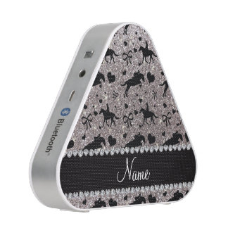 Name silver glitter equestrian hearts bows speaker