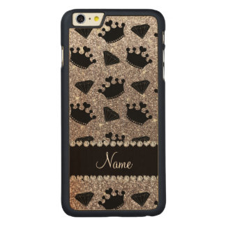 Name silver glitter princess crowns diamonds carved® maple iPhone 6 plus case