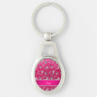 Name silver hearts dolphins rose pink glitter Silver-Colored oval key ring