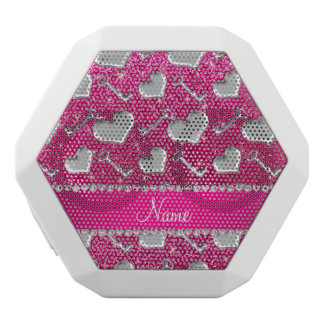 Name silver hearts keys neon hot pink glitter white boombot rex bluetooth speaker