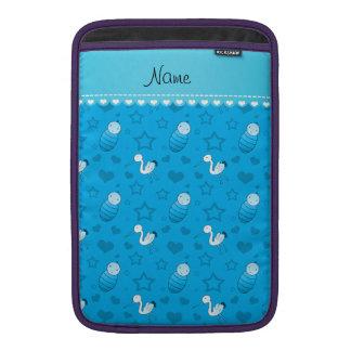 Name sky blue baby stork hearts stars sleeves for MacBook air