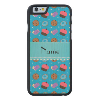 Name sky blue cupcake donuts cake cookies carved® maple iPhone 6 slim case