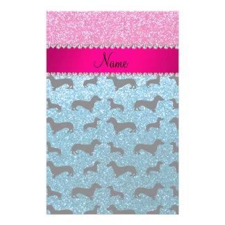 Name sky blue glitter dachshunds pink glitter personalised stationery