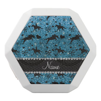 Name sky blue glitter equestrian hearts bows white boombot rex bluetooth speaker