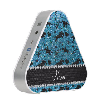 Name sky blue glitter equestrian hearts bows speaker