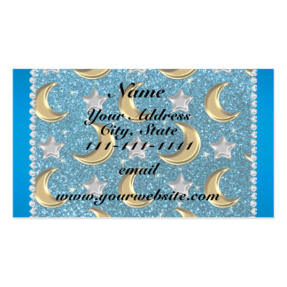 Name sky blue glitter gold moons silver star pack of standard business cards