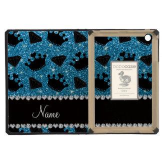 Name sky blue glitter princess crowns diamonds iPad mini retina cover