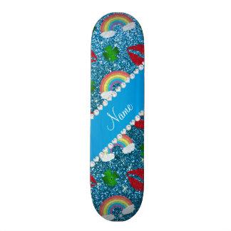 Name sky blue glitter shamrocks rainbows kisses custom skateboard